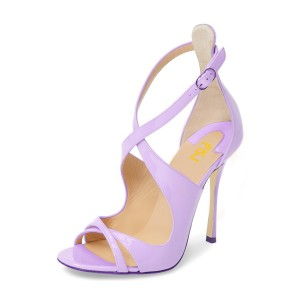 Women's Purple Stiletto Heels Cross-over Strap Patent Leather Sandals