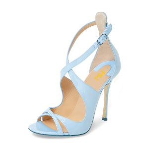 Light Blue Stiletto Heels Cross-over Strap Open Toe Sandals