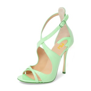 Light Green Stiletto Heels Cross-over Strap Open Toe Sandals
