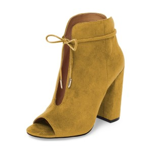 Mustard Suede Boots Front Tie up Peep Toe Chunky Heel Ankle Boots