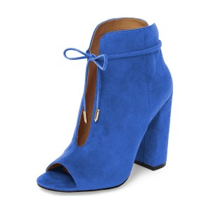 Women's Blue Lace Up Peep Toe Hollow Out Chunky Heel Boots