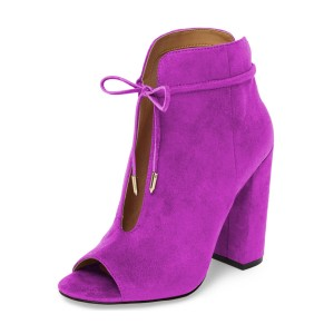 Women's Plum Lace Up Peep Toe Hollow Out Chunky Heel Boots