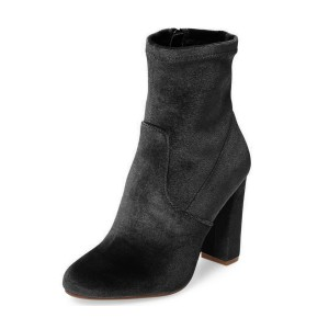 Black Chunky Heel Boots Velvet Short Fashion Sock Boots
