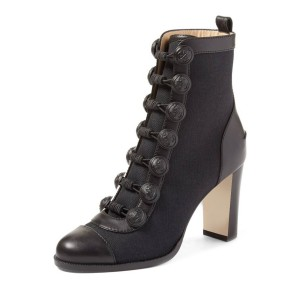 Black Chunky Heel Boots Round Toe Buttoned Ankle Boots