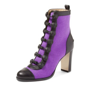 Women's Purple Chunky Heel Boots Round Toe Ankle Fashion Boots