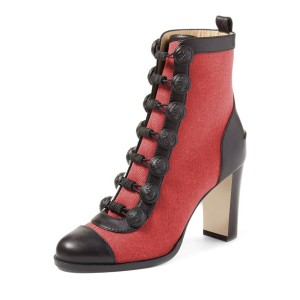 Red Chunky Heel Boots Round Toe Buttoned Ankle Boots
