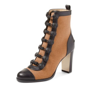 Tan Boots Round Toe Buttoned Chunky Heel Ankle Boots