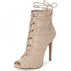 Nude Lace up Heels Peep Toe Lace Ankle Booties for Wedding