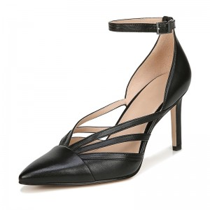 Black Hollow out Ankle Strap Sandals Stiletto Heel Sandals