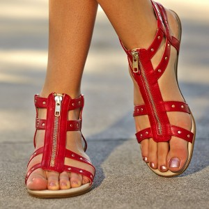 Women's Red Open Toe Zipper Studded Sandals