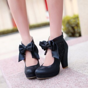 Custom Made Black Platform Bow Chunky Heel Pumps