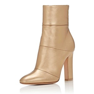 Golden Chunky Heel Boots Pointy Toe Block Heel Booties