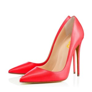 Coral Red Office Heels Pointy Toe Stilettos Pumps by FSJ
