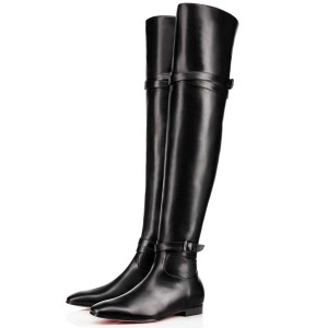FSJ Black Flat Boots Vegan Leather Over-the-Knee Boots