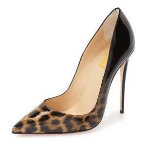Leopard-Print Black Gradient Pointed Toe Pencil Heel Pumps