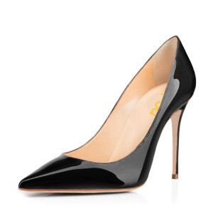 Black Dress Shoes Pointy Toe Patent Leather Stiletto Heels Pumps