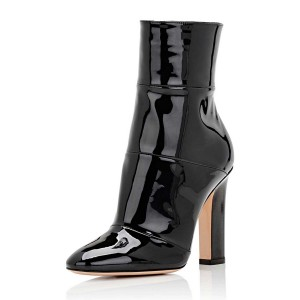 Women's Black Chunky Heel Boots Patent Leather Pointy Toe Ankle Boots