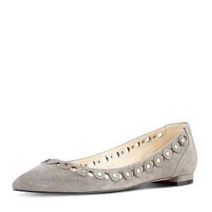 Grey Suede Hollow out Pointy Toe Flats Studs Shoes