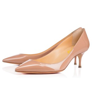 Blush Heels Pointy Toe Patent Leather Pumps Kitten Heels
