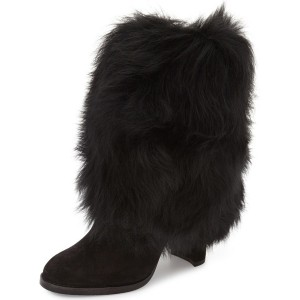 Leila Black Faux Fur Winter Boots
