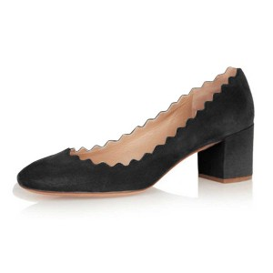 Black Curve Chunky Heels Comfortable Flats Almond Toe Commuting Shoes