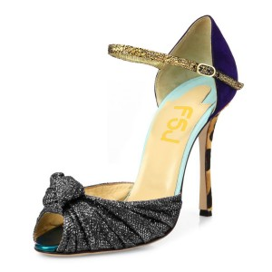 Grey Peep Toe Heels Leopard Stiletto Heel Sandals with Bow