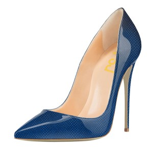 Blue Vegan Patent Leather Office Heels Pointy Toe Stiletto Heel Pumps