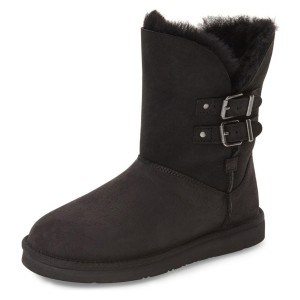 Black Winter Boots Round Toe Flat Comfy Mid Calf Snow Boots
