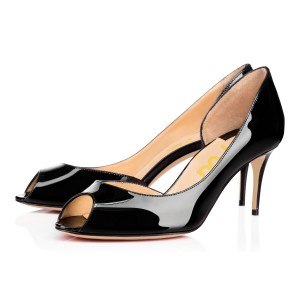 Black Peep Toe Formal Kitten Heels Patent Leather Dorsay Pumps