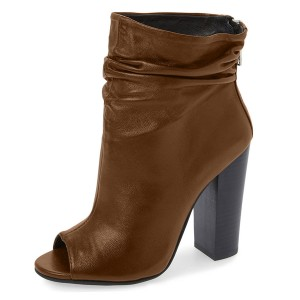 Brown Chunky Heel Boots Peep Toe Ankle Booties for Women