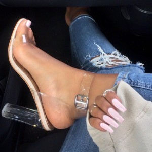 Transparent Open Toe Ankle Strap Sandals