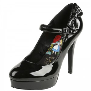 Alice In Wonderland Black Stiletto Heels Mary Jane Pumps for Halloween