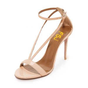 FSJ Nude T Strap Sandals Patent Leather Stiletto Heel Offcie Shoes