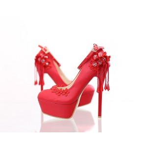 Women's Red Floral-print Ankle Strap Stiletto Heel Wedding Shoes