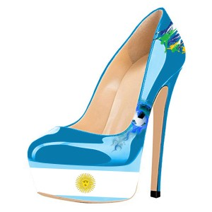 Argentina Football Lover Design Stiletto Heels Platform Heels Pumps