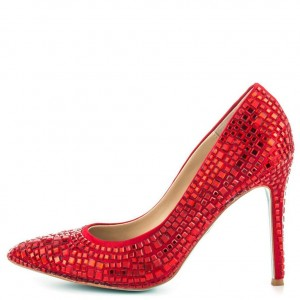 f4ed15b18c Ariel Red Rhinestone Heels Pointy Toe Pumps for Halloween ...