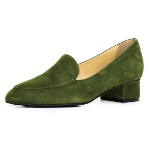 Army Green Suede Block Heel Loafers for Women
