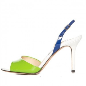 Avocado Green and Navy Slingback Heels Patent Leather Sandals