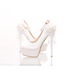 White Wedding Shoes Platform Floral Pearl Ankle Strap Stilettos Pumps