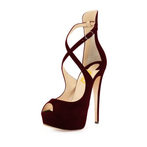Burgundy Heels Peep Toe Cross over Strap Suede Platform Pumps