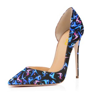 Women's Esther Blue Floral Heels Pointed Toe Stiletto Heel Dorsay Pumps