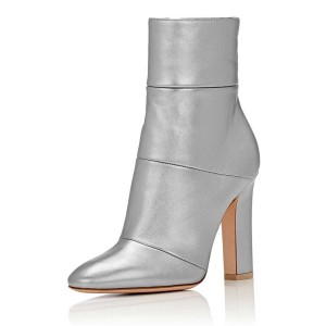Women's Silver Chunky Heels Patent Leather Pointy Toe Ankle Booties