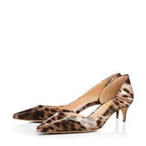 Dark Brown Leopard-print Dorsay Pumps