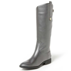 Women's Gray Long Boots Buckle Flat Comfortable Shoes