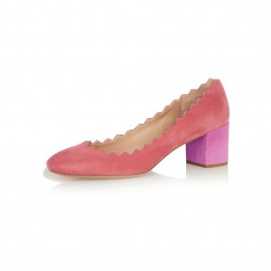 Women's Pink Almond Toe Chunky Heels Pumps Shoes