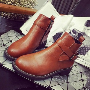 Women's Brown Round Toe Buckle Short Flats Vintage Boots