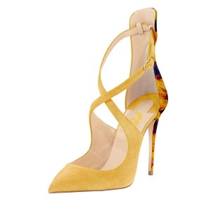 Women's Yellow Ankle Strap Heels Crossed-over Stiletto Heel Pumps