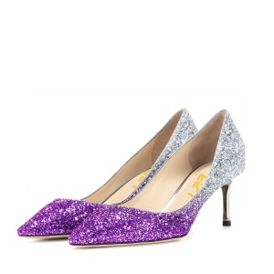 Women's Purple and Silver Gradient Color Kitten Heel Pumps Bridal Heels