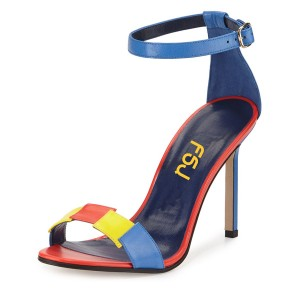 Esther Blue Colorful Open Toe Stiletto Heels Ankle Strap Sandals