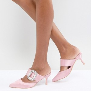 Pink Satin Kitten Heels Pointy Toe Mule with Rhinestone